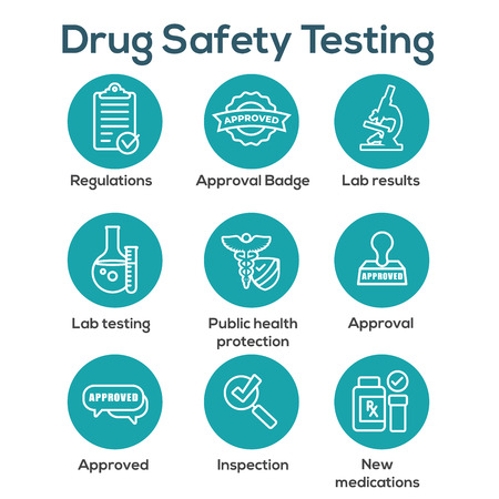 Drug Testing and Safety Icon Set Vector Graphic w Rounded Edges