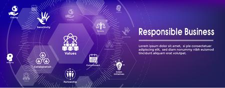 Conjunto de iconos de banner web de responsabilidad social y banner de encabezado web con honestidad, integridad, colaboración, etc.
