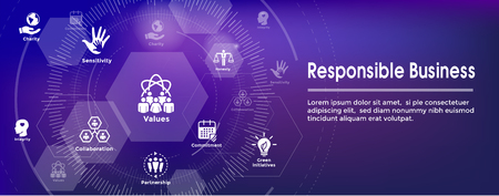 Social Responsibility Web Banner Icon Set & Web Header Banner w Honesty, integrity, collaboration, etc Çizim