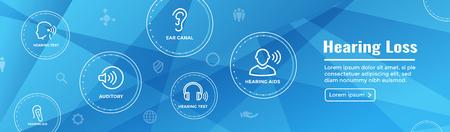 Bannière d'en-tête Web pour prothèses auditives / perte avec jeu d'images d'ondes sonores Vecteurs