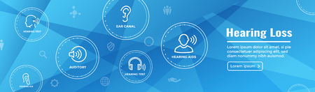Gehoorapparaat / verlies Web Header Banner met geluidsgolfafbeeldingen ingesteld