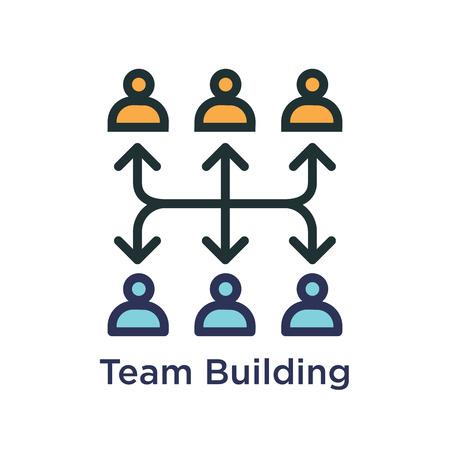 Icono de Team Building, trabajo en equipo y conectividad con figuras de palo y conexiones Ilustración de vector