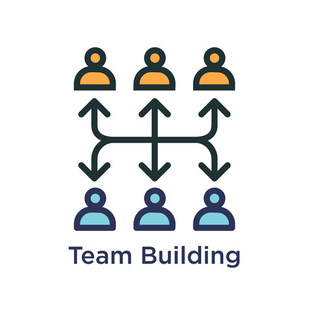 Team Building, Teamwork, and Connectivity Icon with Stick Figures and Connections