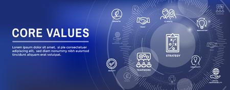 Kernwaarden Web Header Bannerafbeelding met integriteit, missie, pictogramserie Vector Illustratie