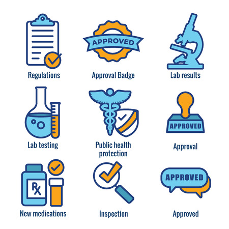 Drug Testing and Safety Icon Set Vector Graphic w Rounded Edges 写真素材 - 113541706