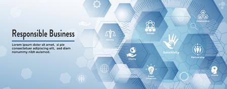 Ensemble d'icônes de bannière Web de responsabilité sociale et bannière d'en-tête Web avec honnêteté, intégrité, collaboration, etc.