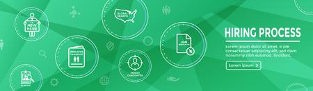 New Employee Hiring Process icon set w Web Header Banner Zdjęcie Seryjne - 113541709