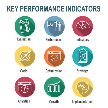 KPI - Key Performance Indicators Icon set met evaluatie, groei en strategie, enz