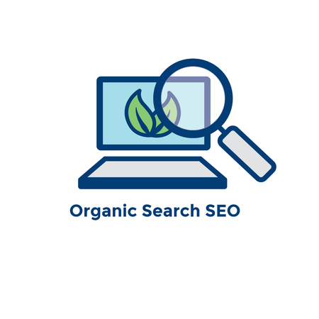 Search & SEO Web Header Hero Image Banner with organic growth, search, and locality ideas icon set