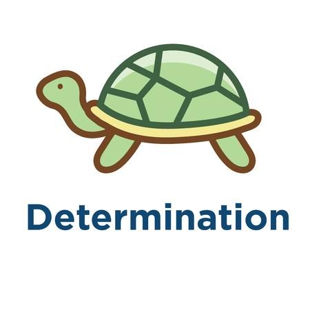 Persistence icon w image of extreme motivation and drive set on persevering