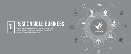 Social Responsibility Web Banner Icon Set & Web Header Banner w Honesty, integrity, collaboration, etc Foto de archivo - 110028539