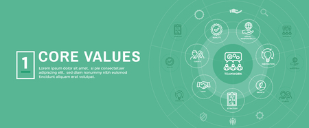 Core Values Web Header Banner image with Integrity, Mission, Icon Set