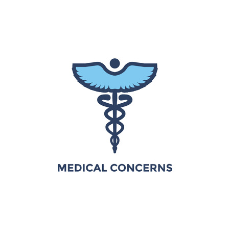 BMI - Body Mass Index Icon - Caduceus showing Medical Concerns - green and blue