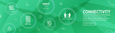 Connectivity Web Header Banner with Togetherness, Connectnedness & Collaboration Icon Set Stock Vector - 109761522