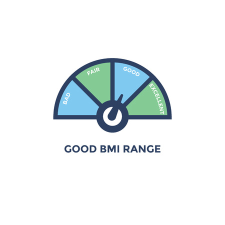 BMI - Body Mass Index Icon - with BMI range chart - green and blue Ilustração