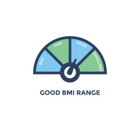 BMI - Icona Indice di massa corporea - con grafico della gamma BMI - verde e blu