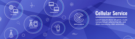 Mobile Cellular Service Web Header Banner with Cellphone Towers & Service area Banque d'images - 110064931