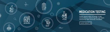 Test antidroga e intestazione Web di processo Banner con set di icone