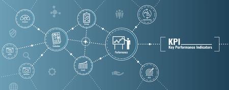 KPI w Key Performance Indicators Web Header Banner and Icon set