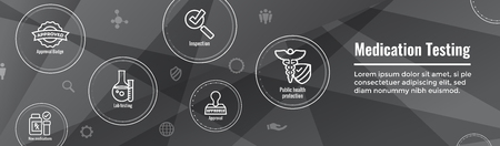 Drug Testing & Process Web Header Banner with Icon Set