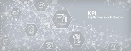 KPI w Indicadores clave de rendimiento Conjunto de iconos y banner de encabezado web