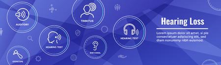 Hearing Aid  loss Web Header Banner with Sound Wave Images Set