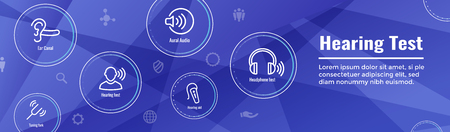 Hearing Test - Hearing Aid or loss / Sound Wave Images Set Web Header Banner