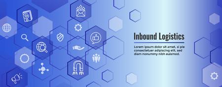 Banner web de marketing entrante digital con iconos vectoriales: CTA, crecimiento, SEO, etc.