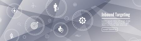 Bannière Web de marketing entrant numérique et de ciblage avec jeu d'icônes vectorielles