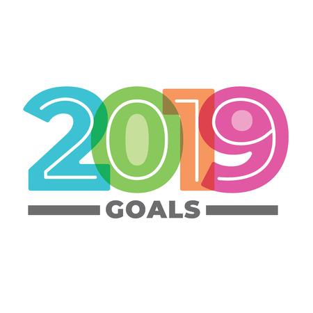 Objetivos de 2019 Gráfico vectorial con el año 2019 e imágenes de estilo artístico