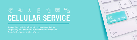 Mobile Cellular Service Web Header Banner with Cellphone Towers & Service area Illustration