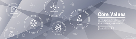 Core Values Web Header Banner image - Integrity, Mission, etc Icon Set