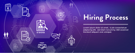 New Employee Hiring Process icon set w Web Header Banner