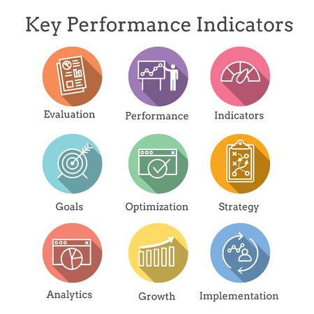 KPI - Key Performance Indicators Icon set with Evaluation, Growth, & Strategy, etc