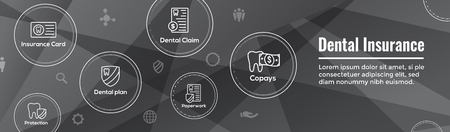 Dental Insurance Web Header Banner - Outline Icons, teeth, premiums, insurance, card, id