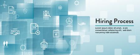 Conjunto de iconos de proceso de contratación de nuevos empleados w Banner de encabezado web