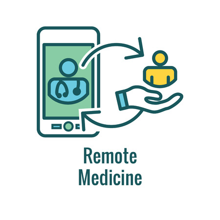 Telemedicine abstract idea - icons illustrating remote health and software Illustration