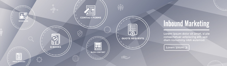 Digital Inbound Marketing Web Banner w Vector Icons with CTA, Growth, SEO, etc
