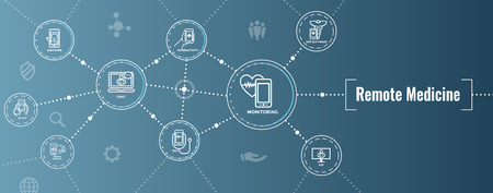 Telemedicine abstract idea - icons illustrating remote health and software 일러스트