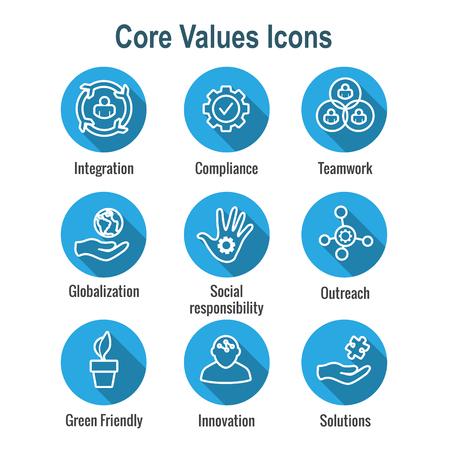 Esquema de valores fundamentales o icono de línea que transmite integridad y propósito