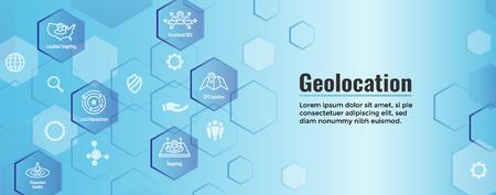Geo Location Targeting w GPS Positioning and Geolocation Icon Set web Header Banner Ilustração