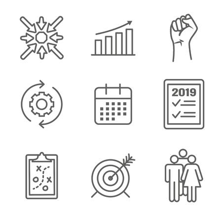 2019 SMART Goals Vector graphic w various Smart goal keywords
