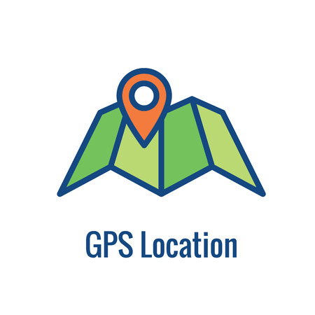 Geo Location Targeting with GPS Positioning and Geolocation Icon Ilustração