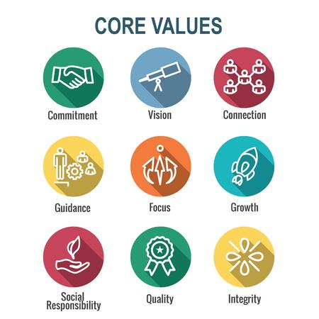 Contorno dei valori fondamentali o icona della linea che trasmette integrità e scopo Vettoriali
