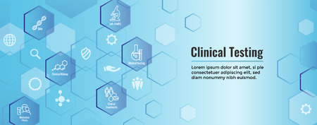 Medical Healthcare Icons with People Charting Disease or Scientific Discovery Web Header Banner