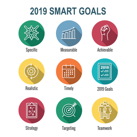 2019 SMART Goals Vector graphic w various Smart goal keywords Ilustração