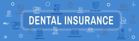 Dental Insurance Web Header Banner - Outline Icons, teeth, premiums, insurance, card, id