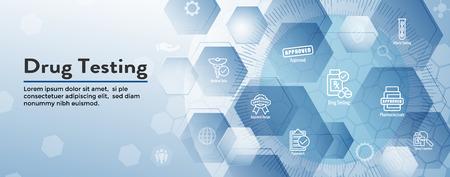 Bannière d'en-tête Web de dépistage de drogues et de processus avec jeu d'icônes