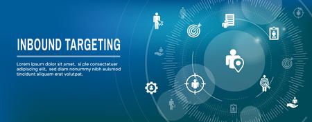 Digital Inbound Marketing  & Targeting Web Banner with Vector Icon Set Illustration