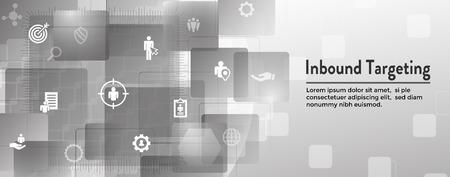 Digital Inbound Marketing  & Targeting Web Banner with Vector Icon Set Banque d'images - 112512031